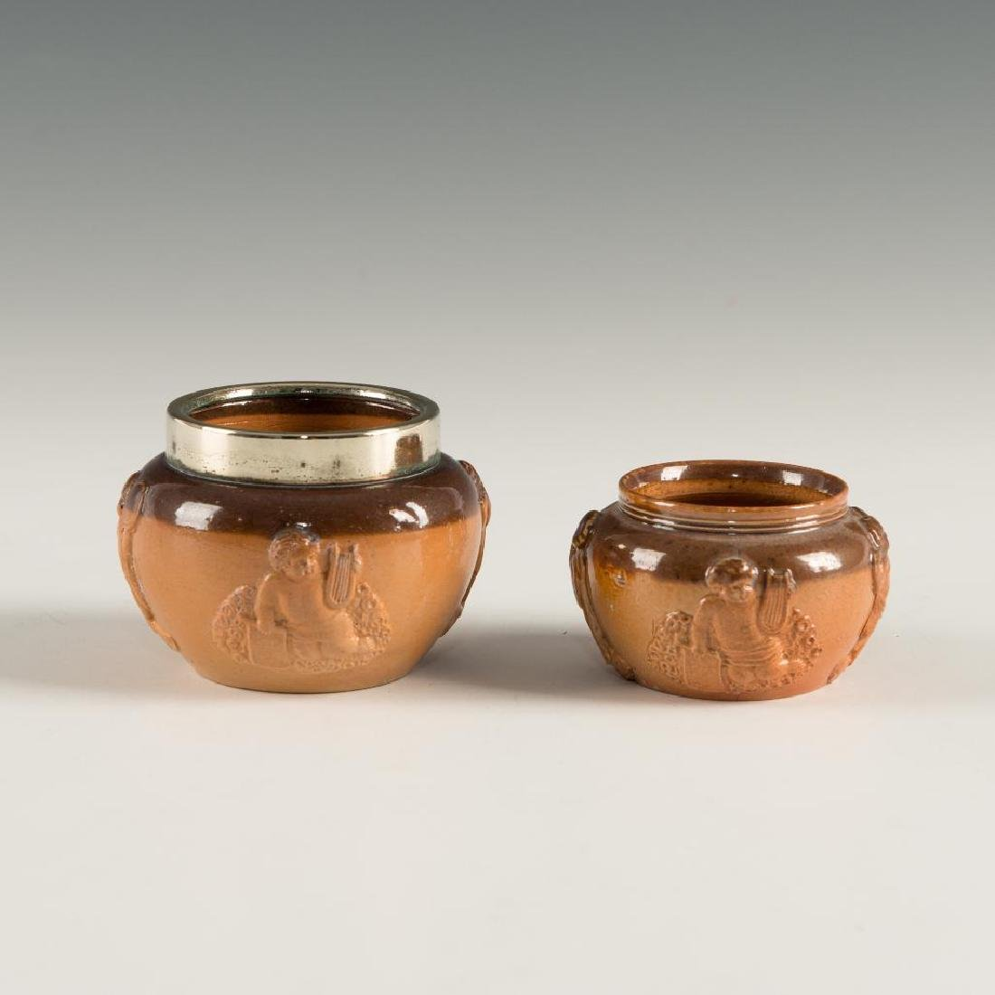 SET OF 2 DOULTON LAMBETH STONEWARE  OPEN SALT CELLARS - 2