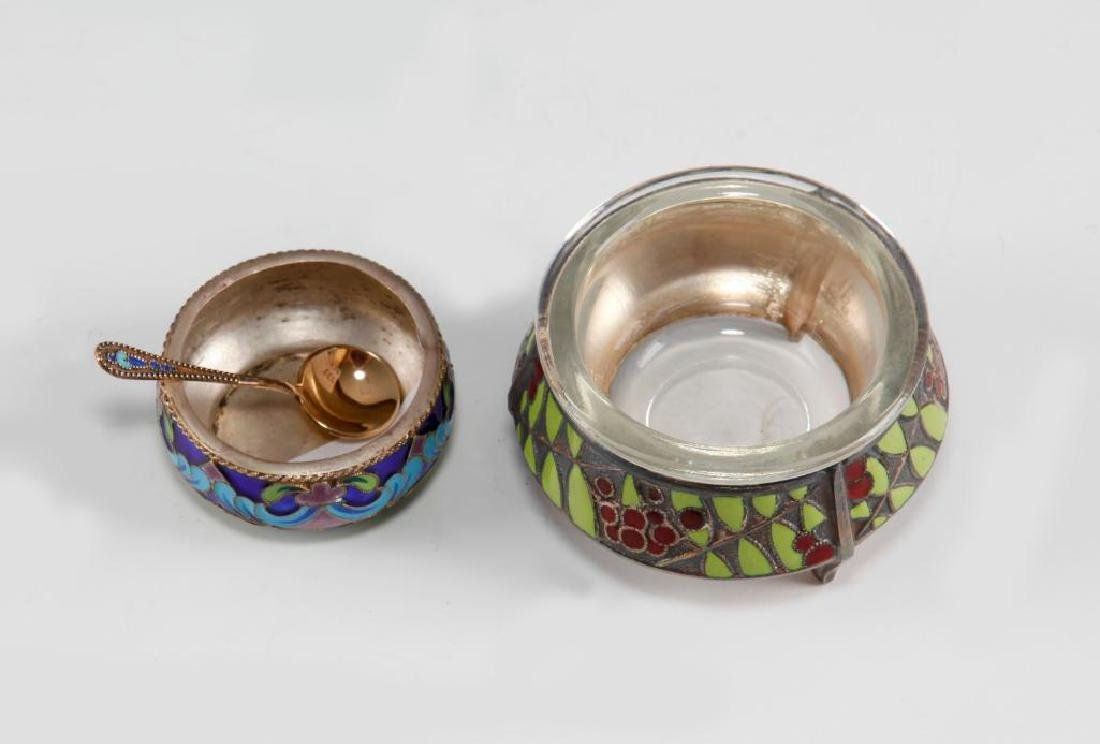 PAIR OF RUSSIAN SILVER & ENAMEL OPEN SALT CELLARS