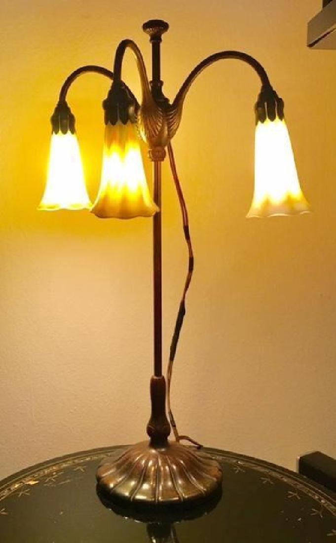"ANTIQUE TIFFANY STUDIOS 21"" FAVRILE BRONZE LILY LAMP - 4"