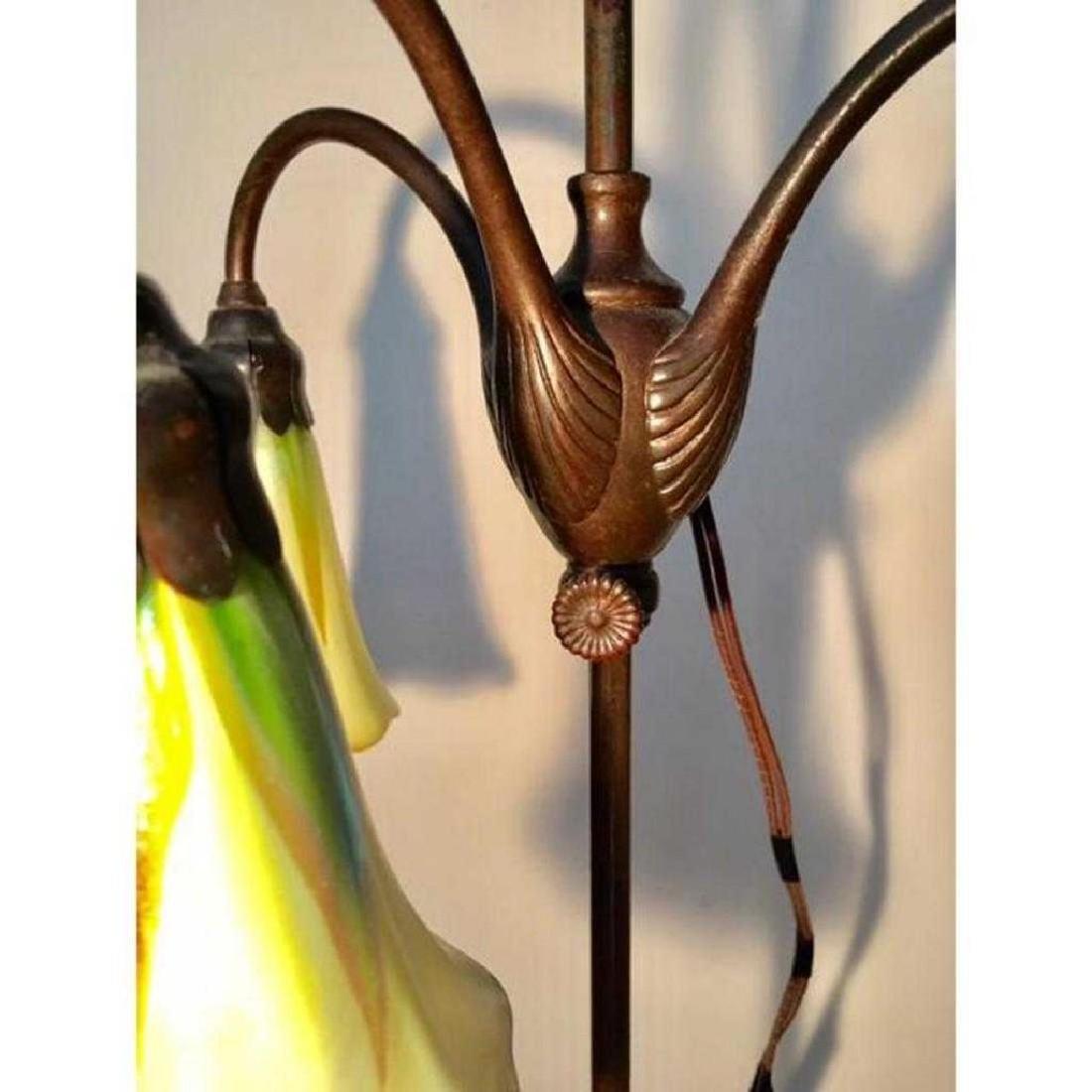 "ANTIQUE TIFFANY STUDIOS 21"" FAVRILE BRONZE LILY LAMP - 5"