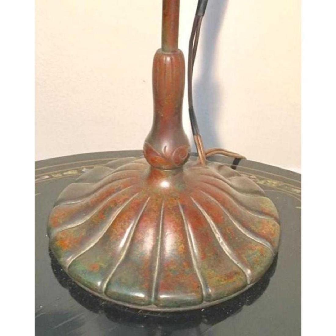 "ANTIQUE TIFFANY STUDIOS 21"" FAVRILE BRONZE LILY LAMP - 6"