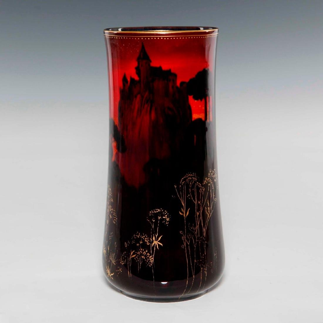 A ROYAL DOULTON SUNG WARE VASE WITH FORREST PAINTING