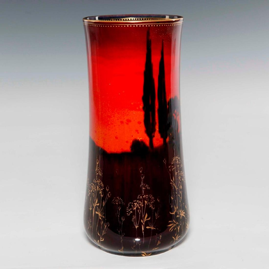 A ROYAL DOULTON SUNG WARE VASE WITH FORREST PAINTING - 2