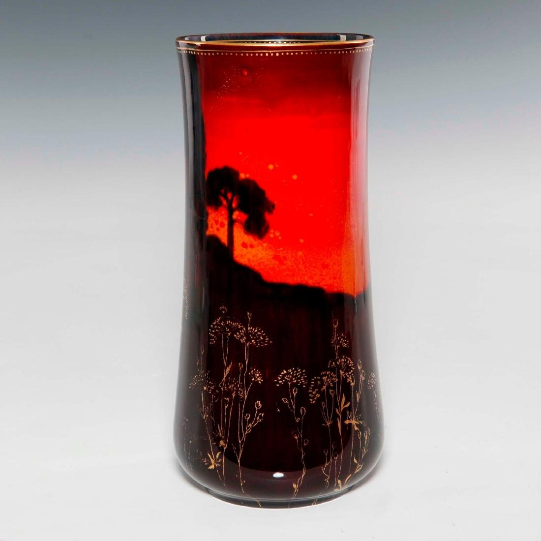 A ROYAL DOULTON SUNG WARE VASE WITH FORREST PAINTING - 3