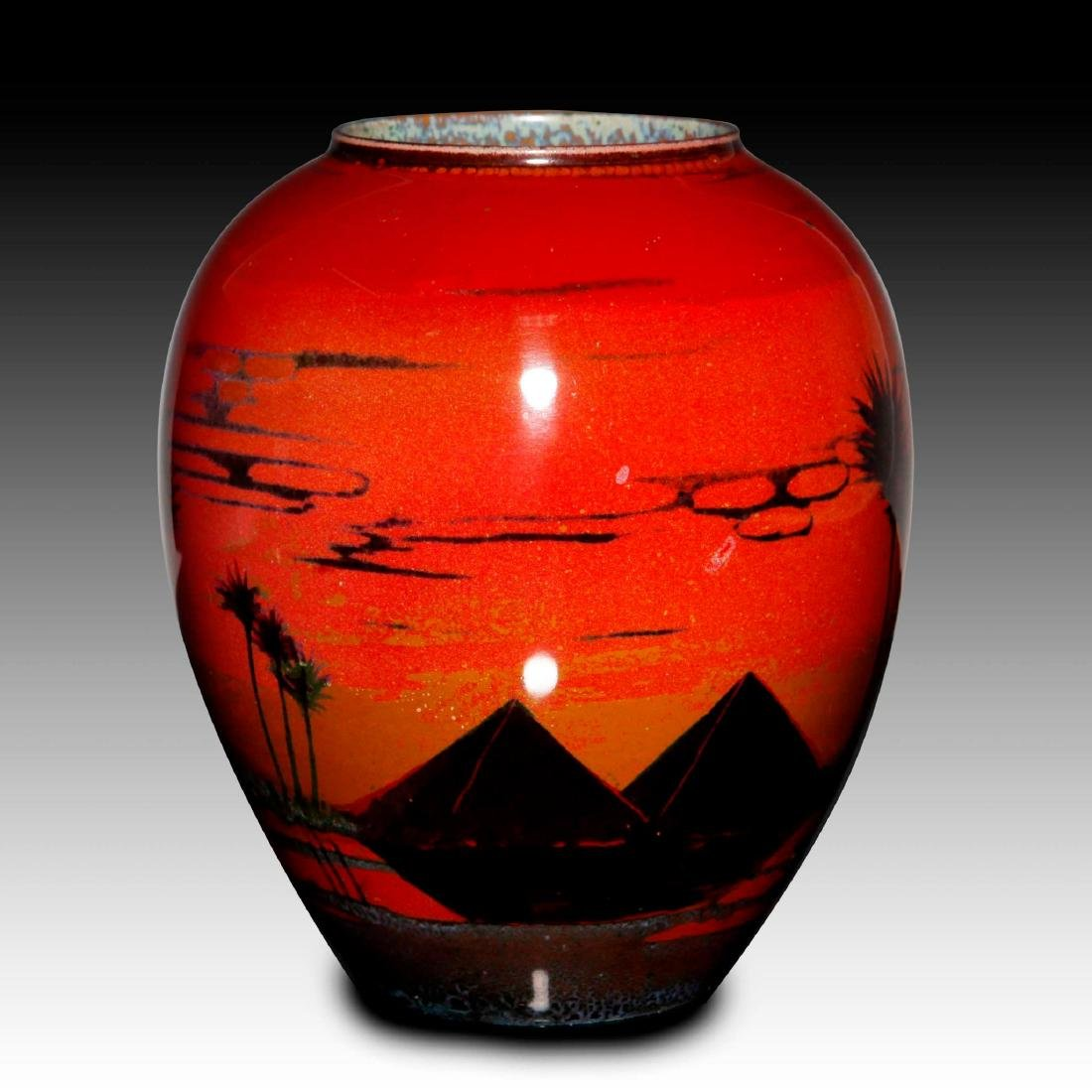 A ROYAL DOULTON SUNG FLAMBE WARE VASE WITH PYRAMIDS