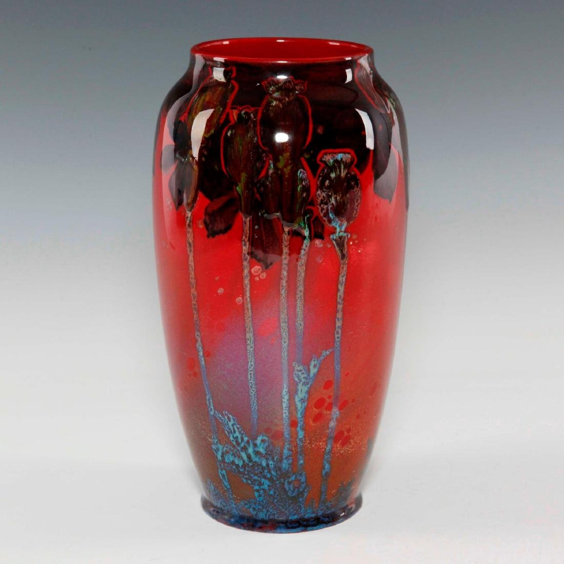A ROYAL DOULTON SUNG WARE VASE WITH POPPIES