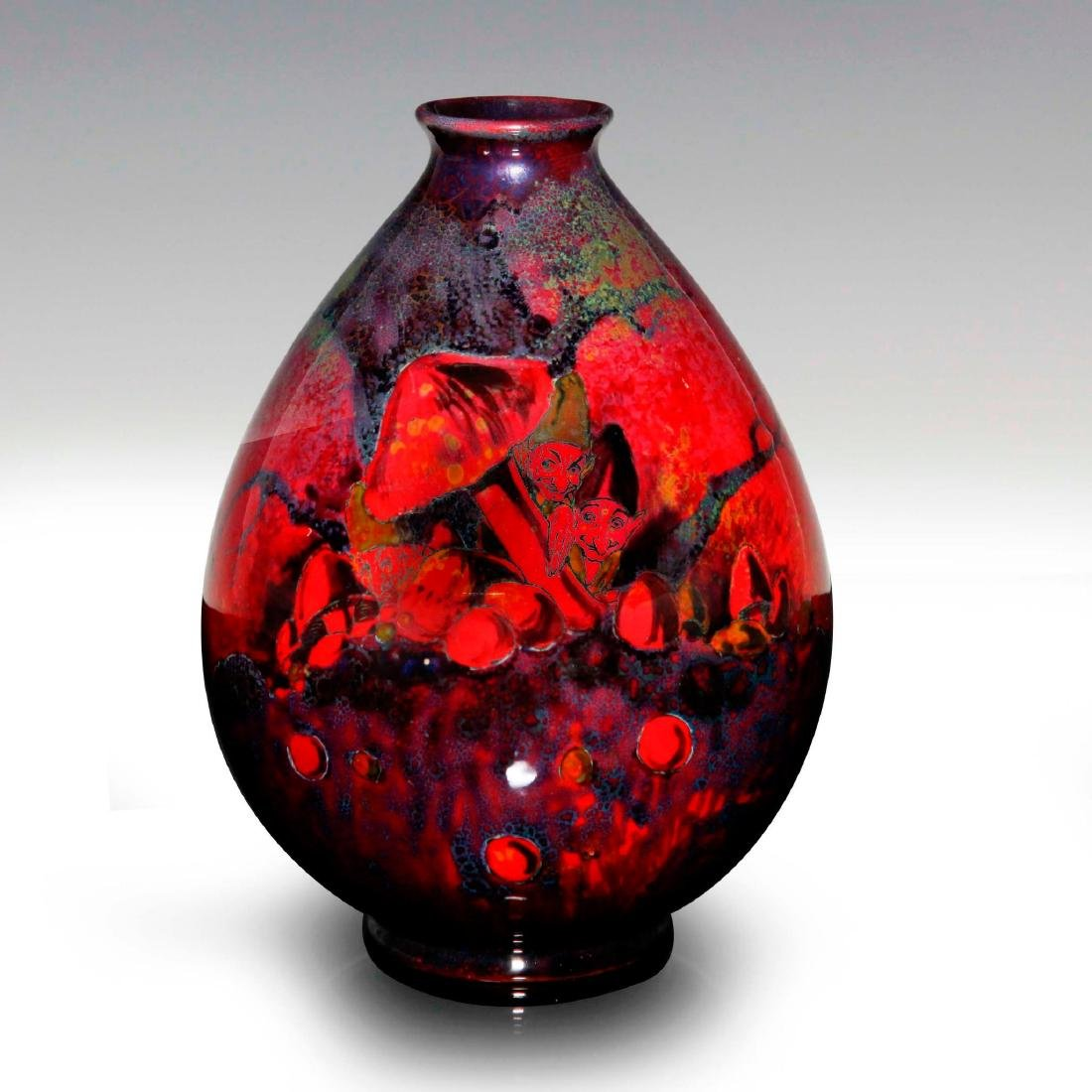 A FINE SUNG FLAMBE VASE WITH GNOMES IN THE FOREST