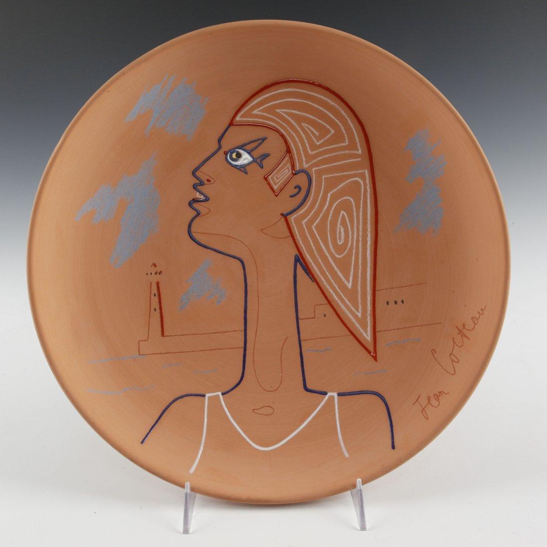 JEAN COCTEAU LARGE CHARGER PLATE MASQUE D'EGYPTIEN