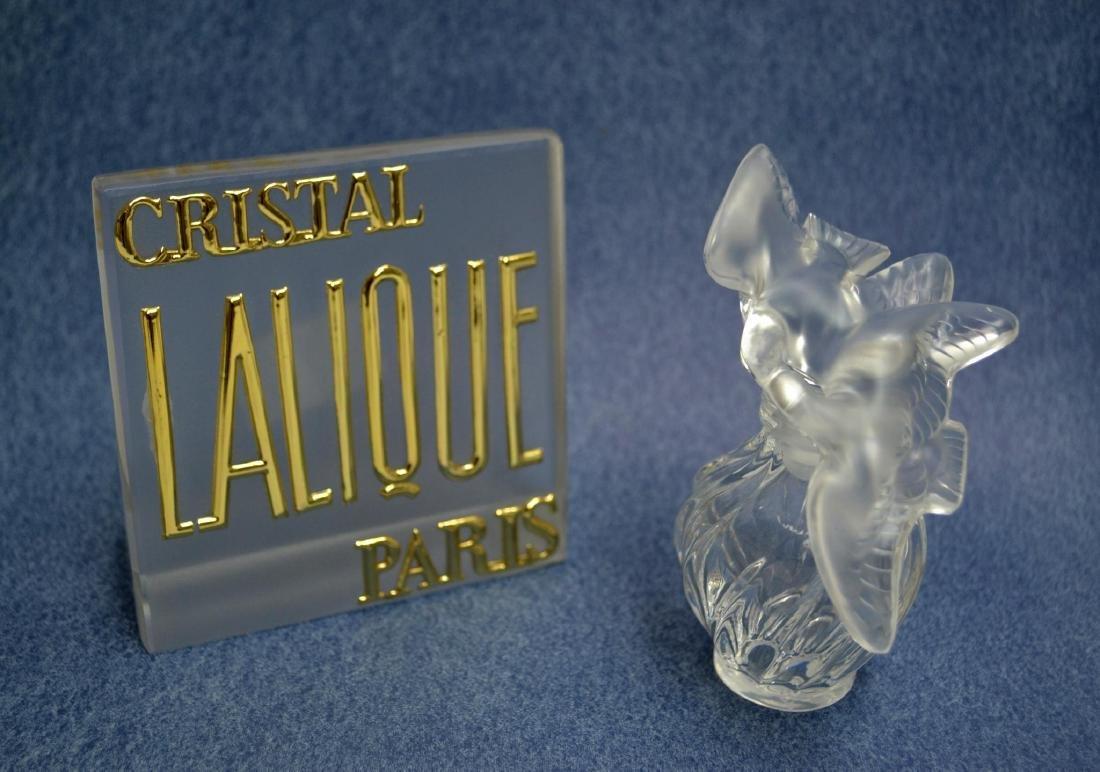 LALIQUE CRYSTAL PERFUME BOTTLE & VINTAGE PLAQUE