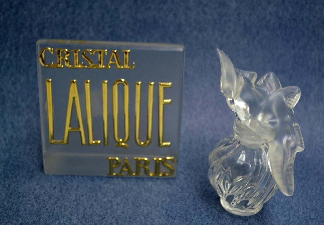 LALIQUE CRYSTAL PERFUME BOTTLE & VINTAGE PLAQUE - 2