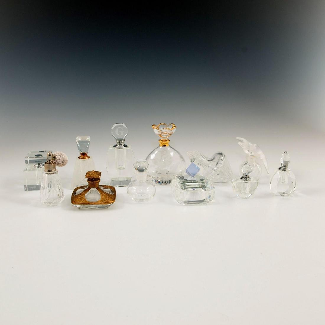 GROUP OF 12 CRYSTAL ART GLASS PERFUME BOTTLES LALIQUE