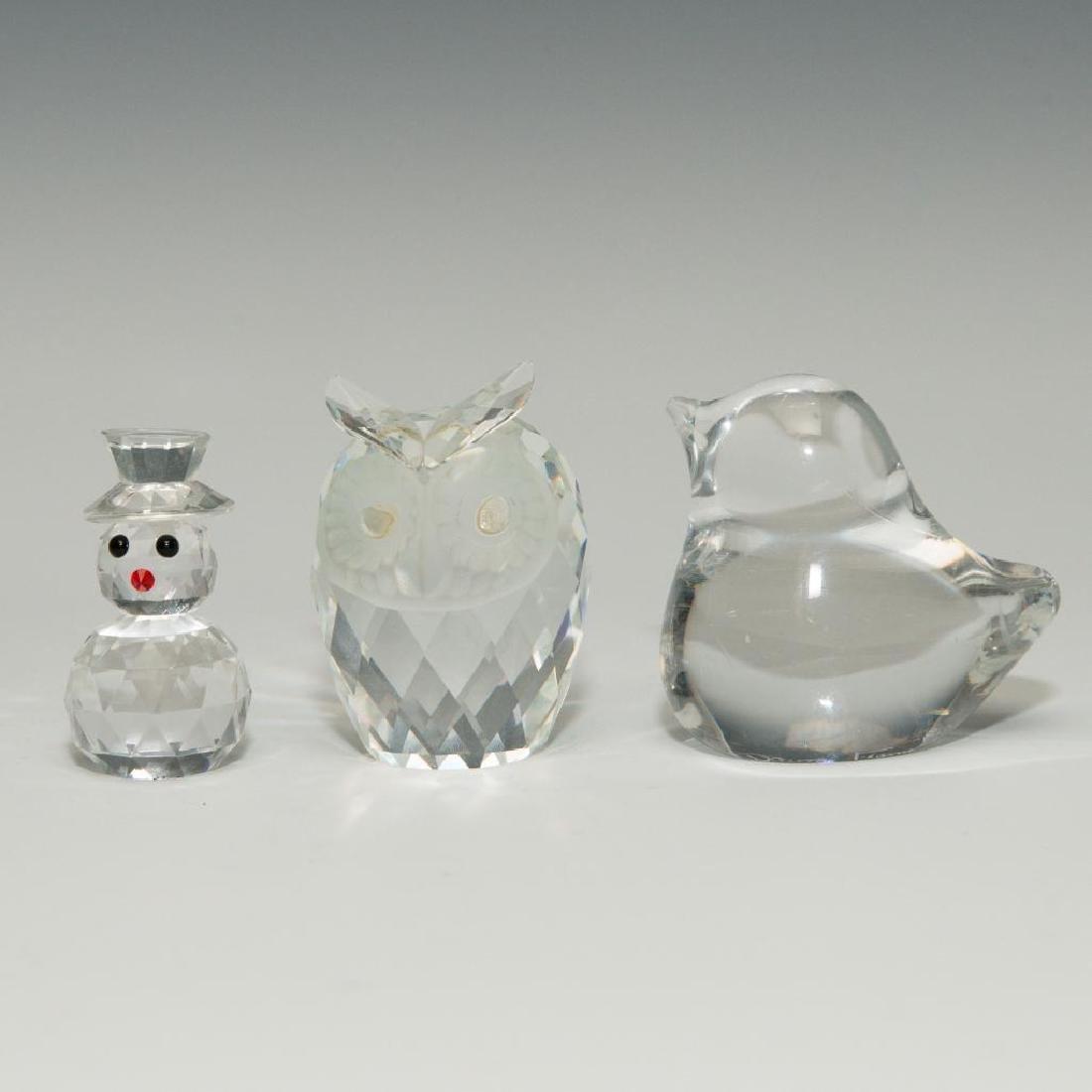 GROUP OF 3 DAUM SWAROWSKI CYRSTAL GLASS PAPERWEIGHT