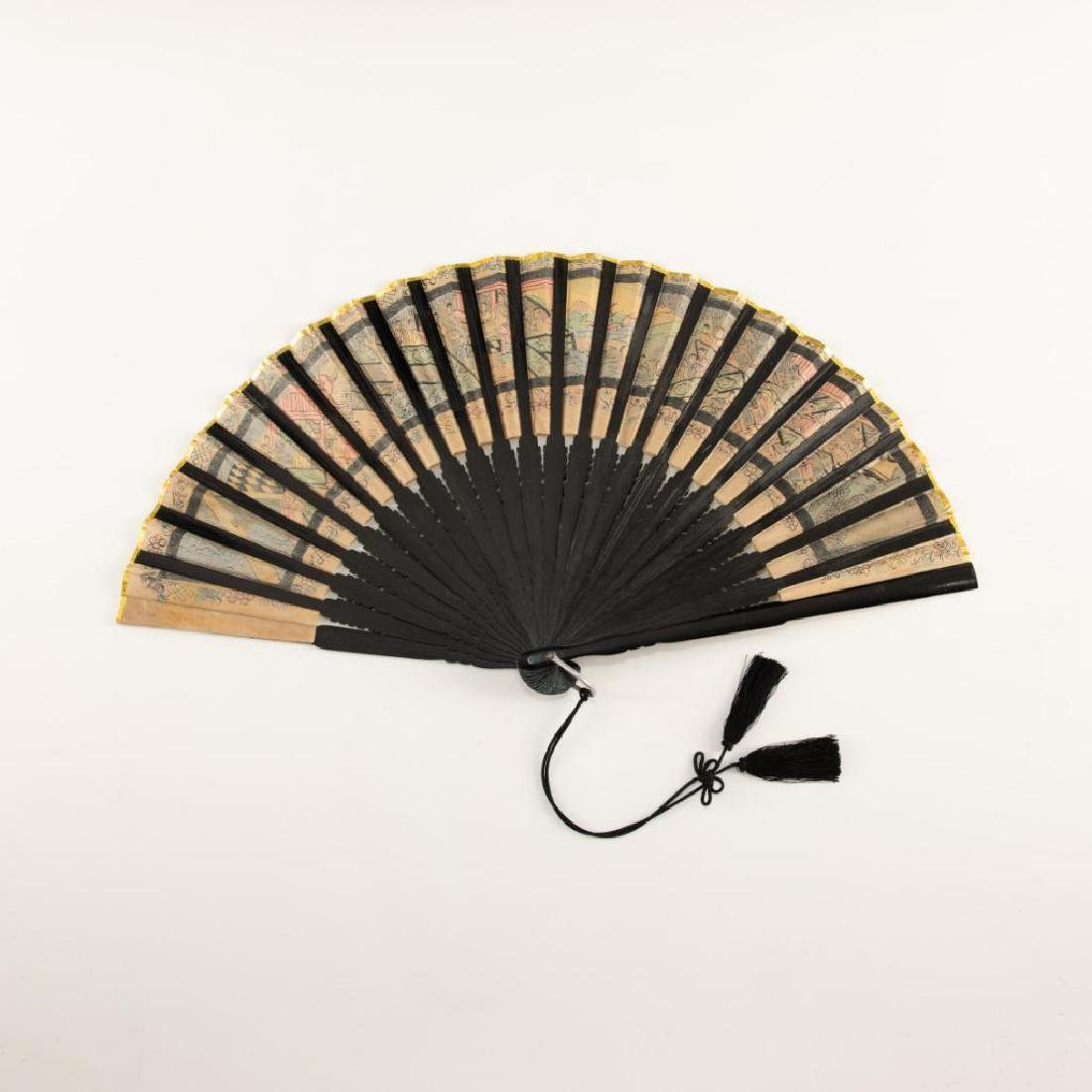 ANTIQUE CHINESE HAND PAINTED BLACK LACQUER FOLDING FAN - 10