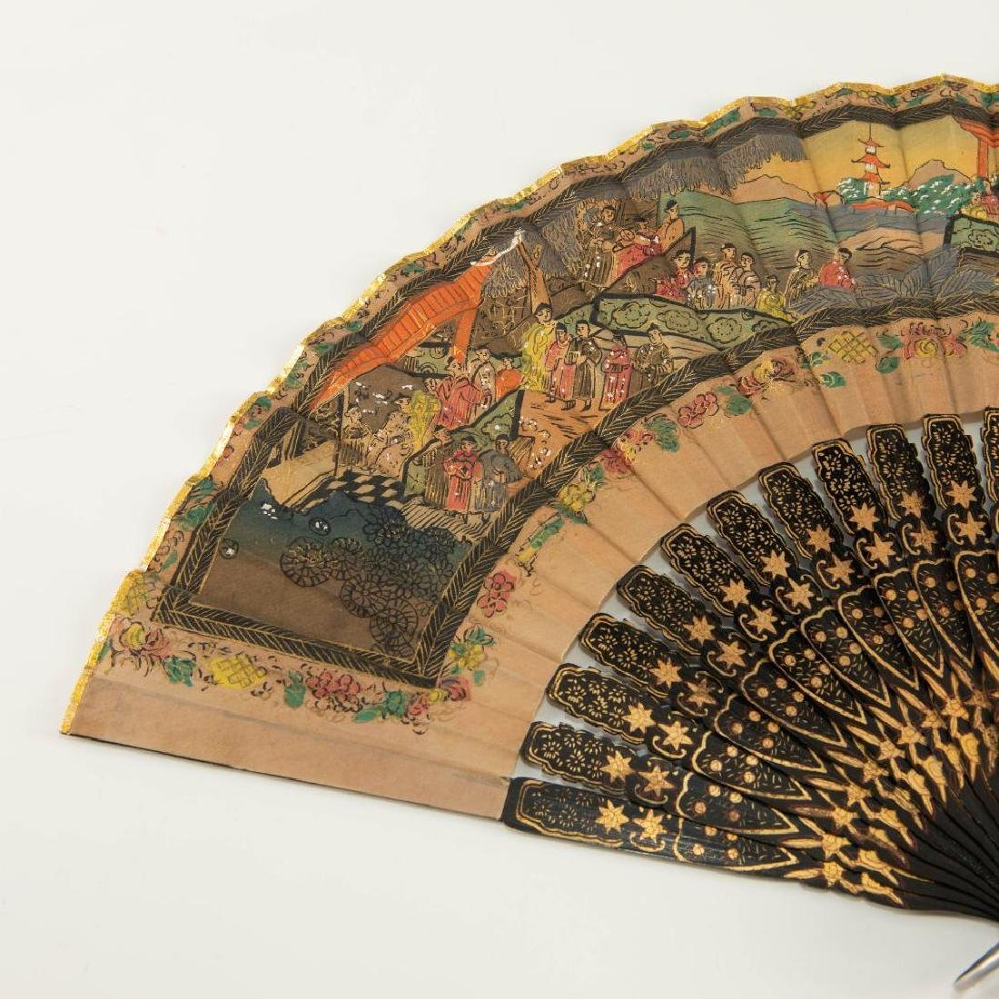 ANTIQUE CHINESE HAND PAINTED BLACK LACQUER FOLDING FAN - 3