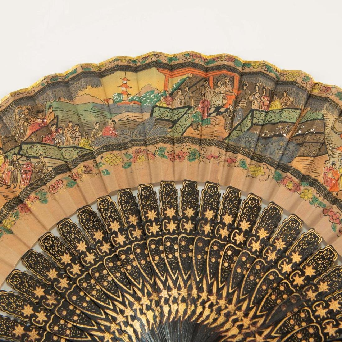 ANTIQUE CHINESE HAND PAINTED BLACK LACQUER FOLDING FAN - 4