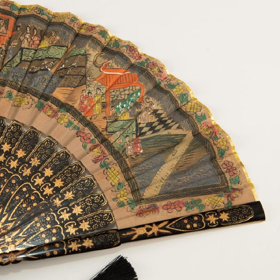 ANTIQUE CHINESE HAND PAINTED BLACK LACQUER FOLDING FAN - 5