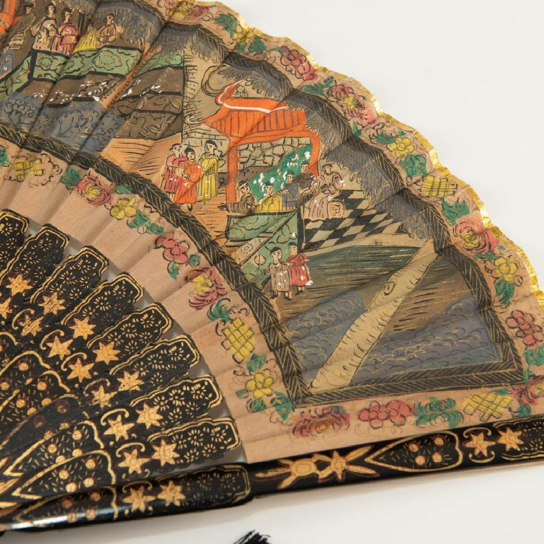 ANTIQUE CHINESE HAND PAINTED BLACK LACQUER FOLDING FAN - 8