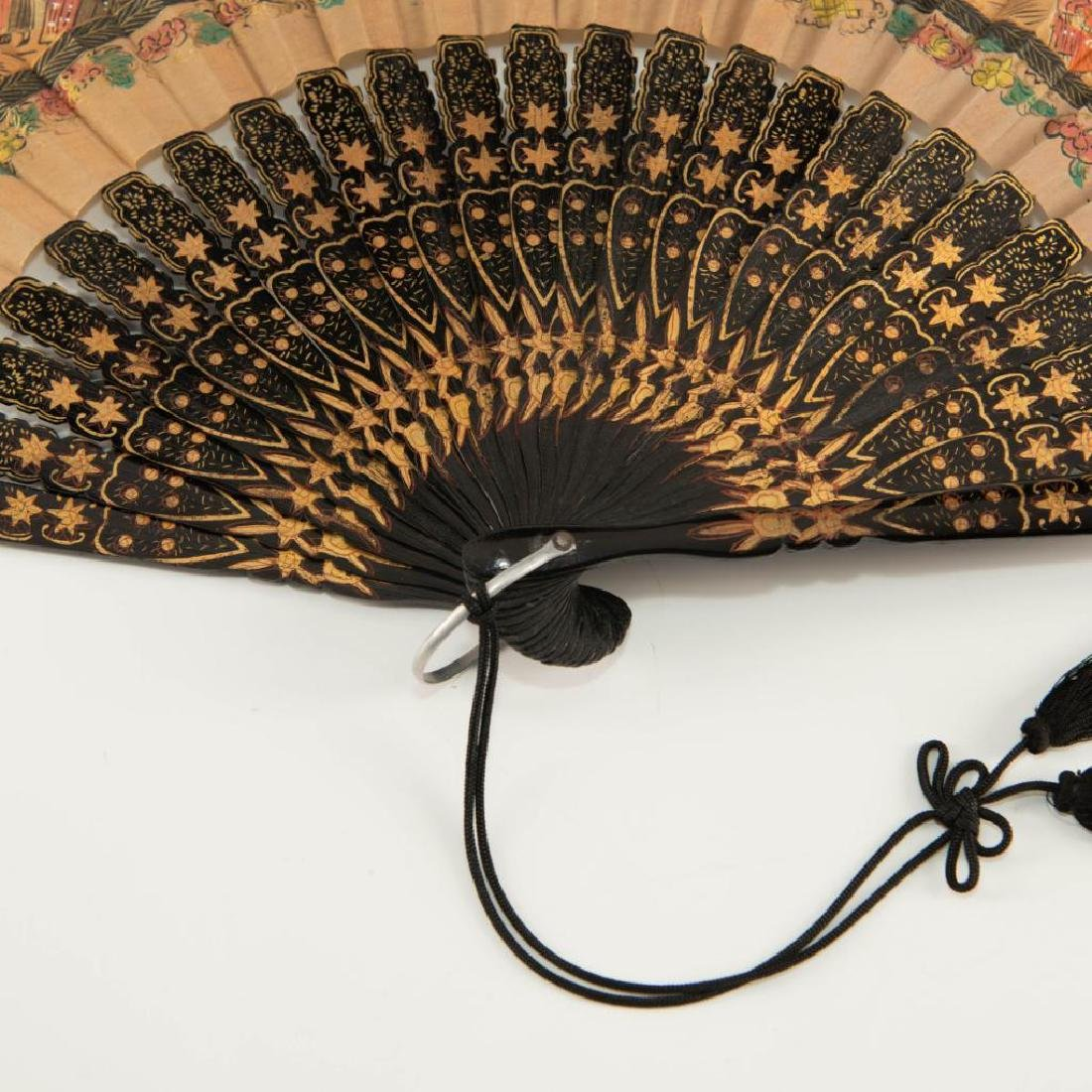 ANTIQUE CHINESE HAND PAINTED BLACK LACQUER FOLDING FAN - 9