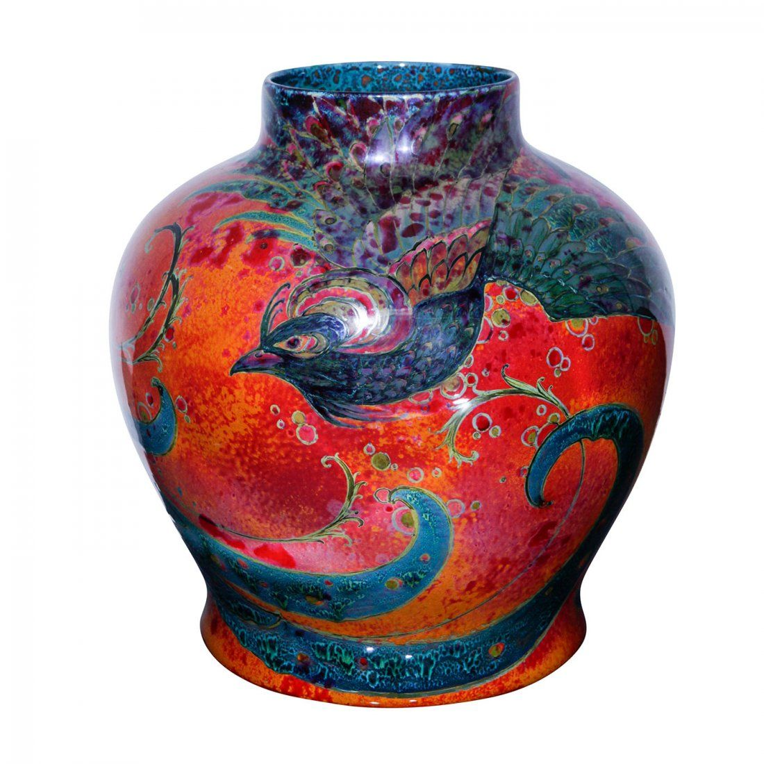 SUNG FLAMBE PEACOCK EXHIBITION VASE BY ROYAL DOULTON