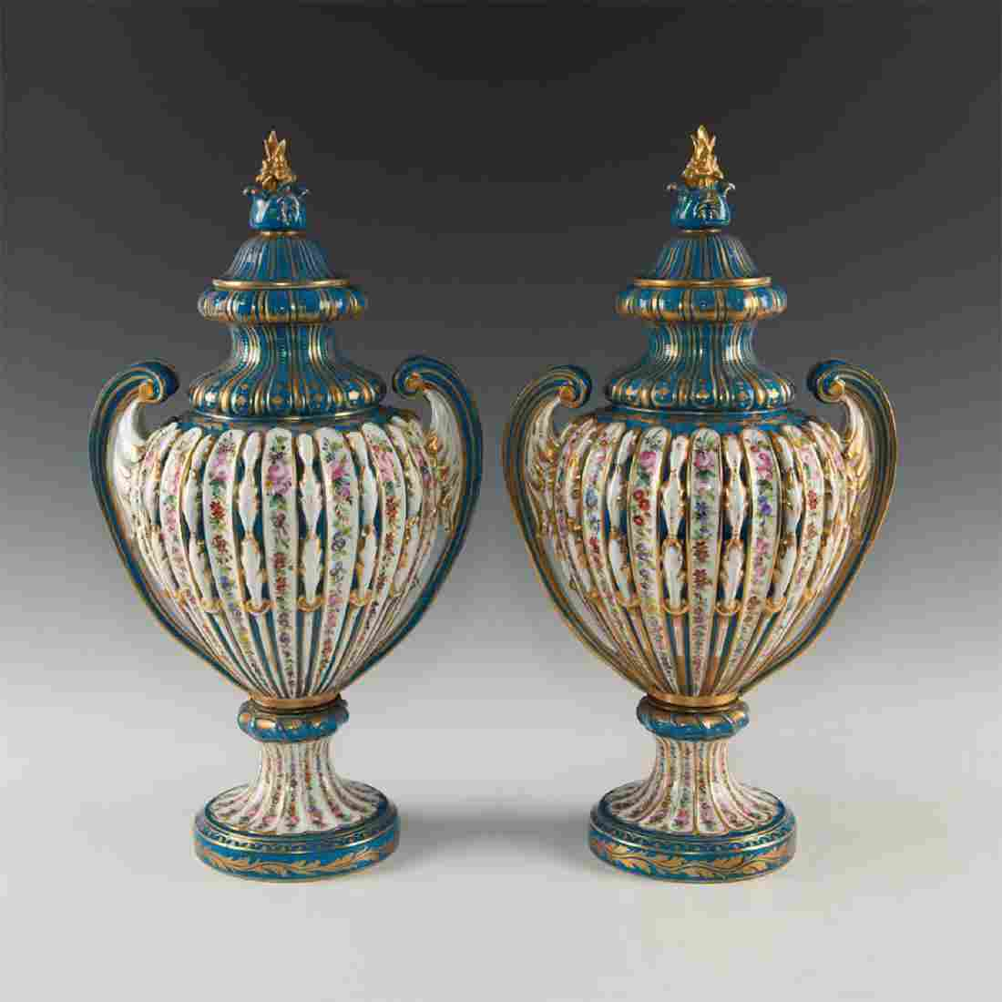IMPORTANT PAIR OF COVERED VASES ATTRIBUTED TO CATHERINE