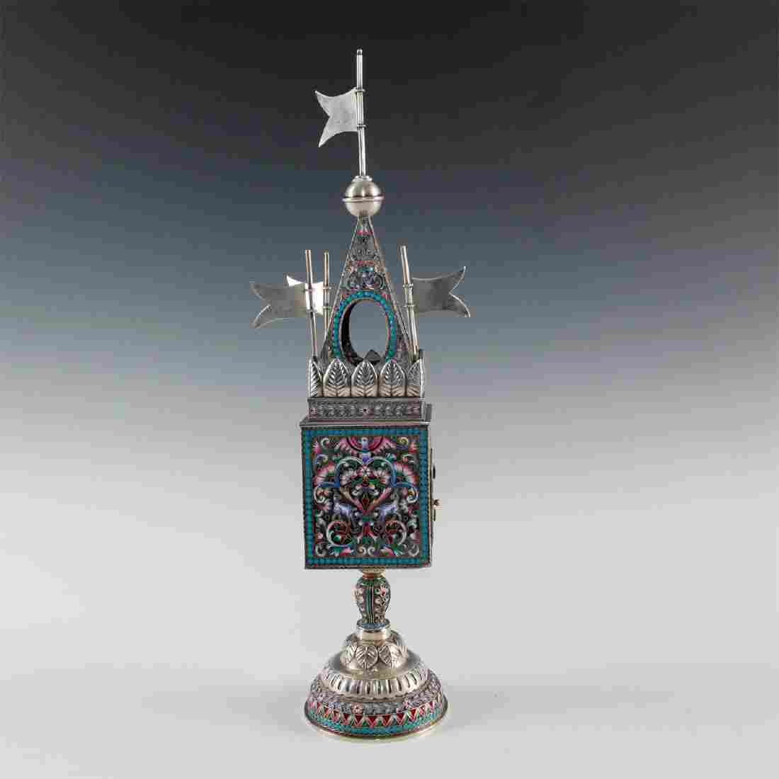 STERLING SILVER JUDAICA SPICE TOWER