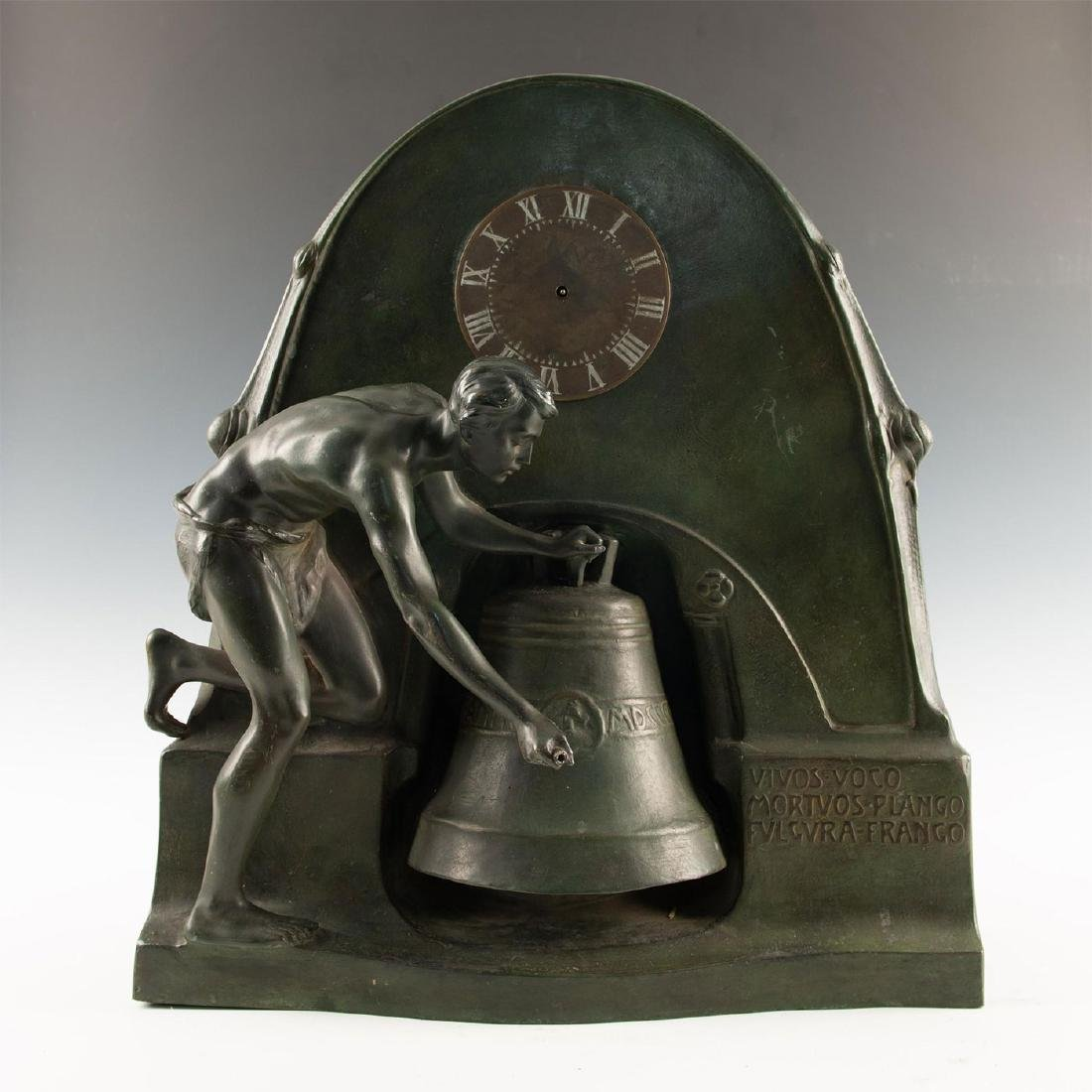 EARLY 20TH CENTURY ART NOUVEAU BRONZE CLOCK, AFTER