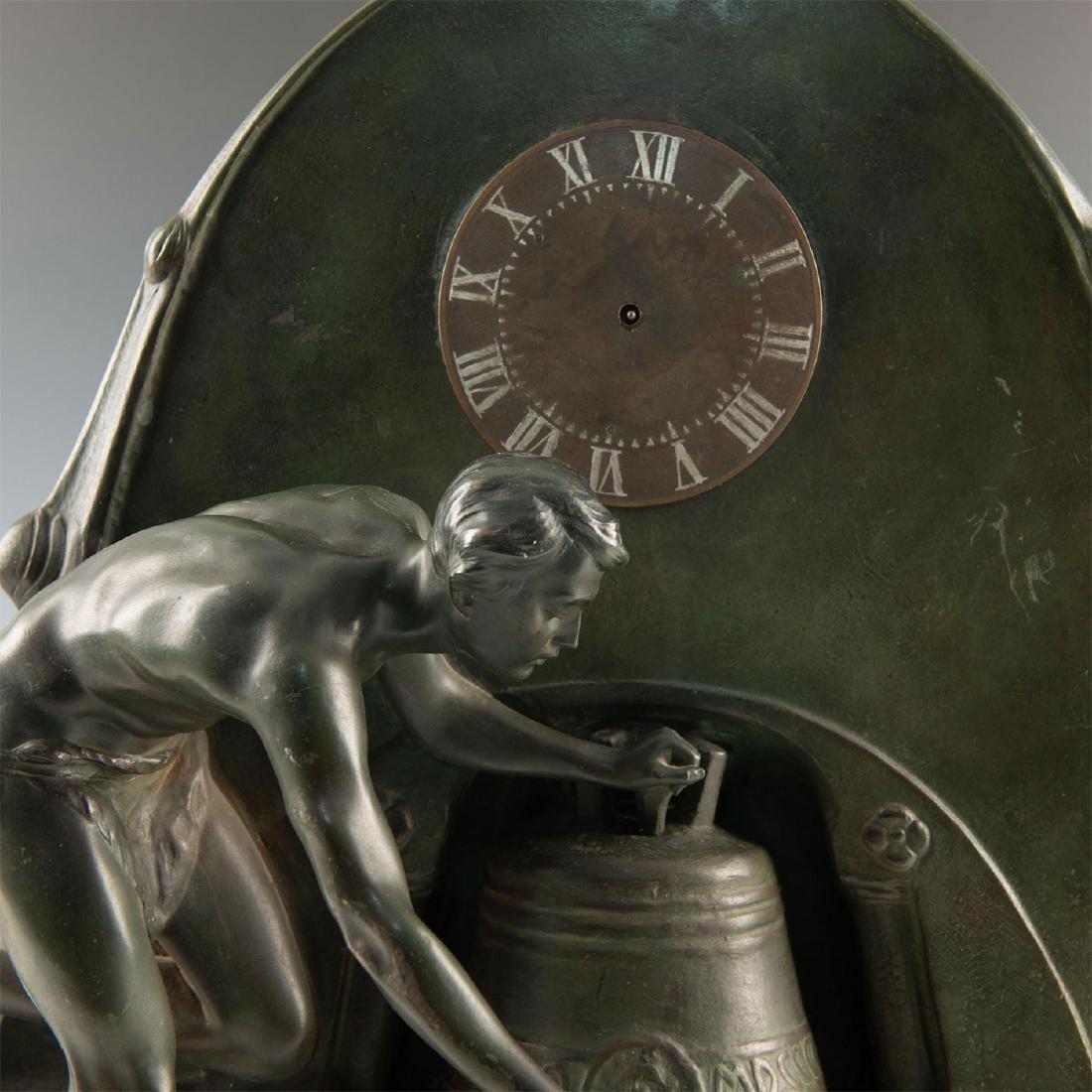 EARLY 20TH CENTURY ART NOUVEAU BRONZE CLOCK, AFTER - 2