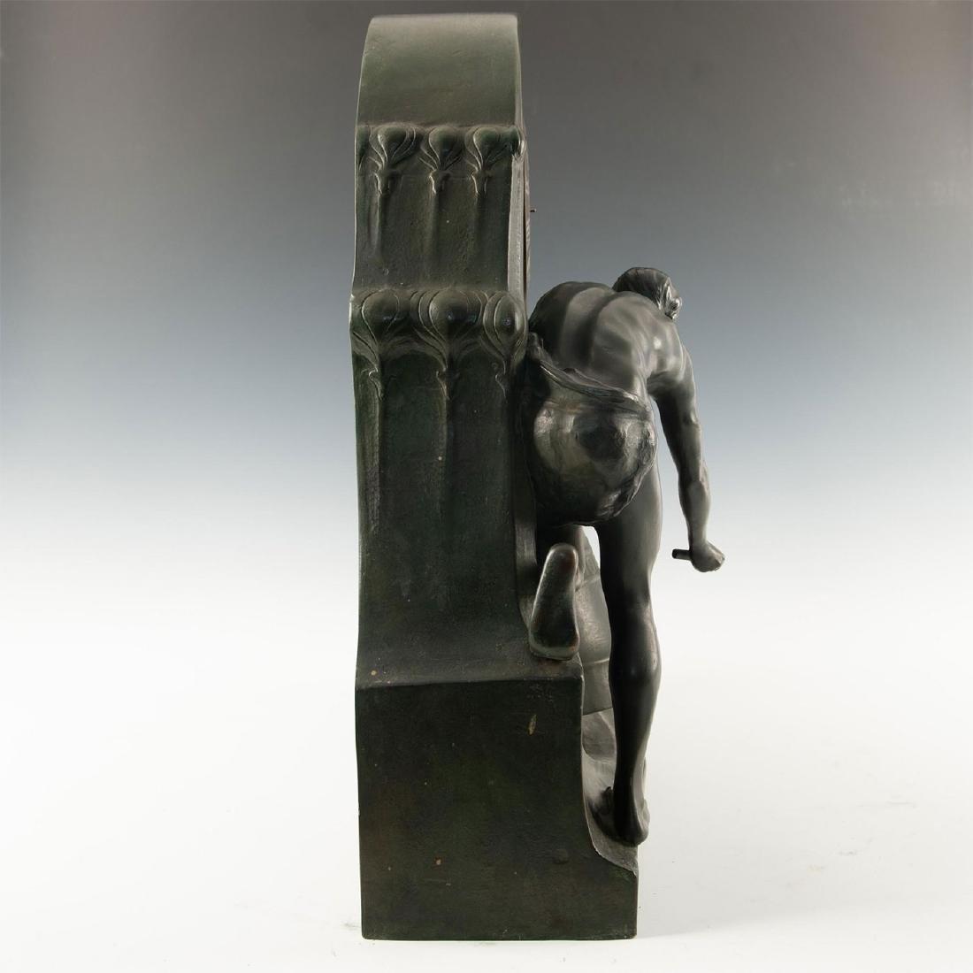 EARLY 20TH CENTURY ART NOUVEAU BRONZE CLOCK, AFTER - 6