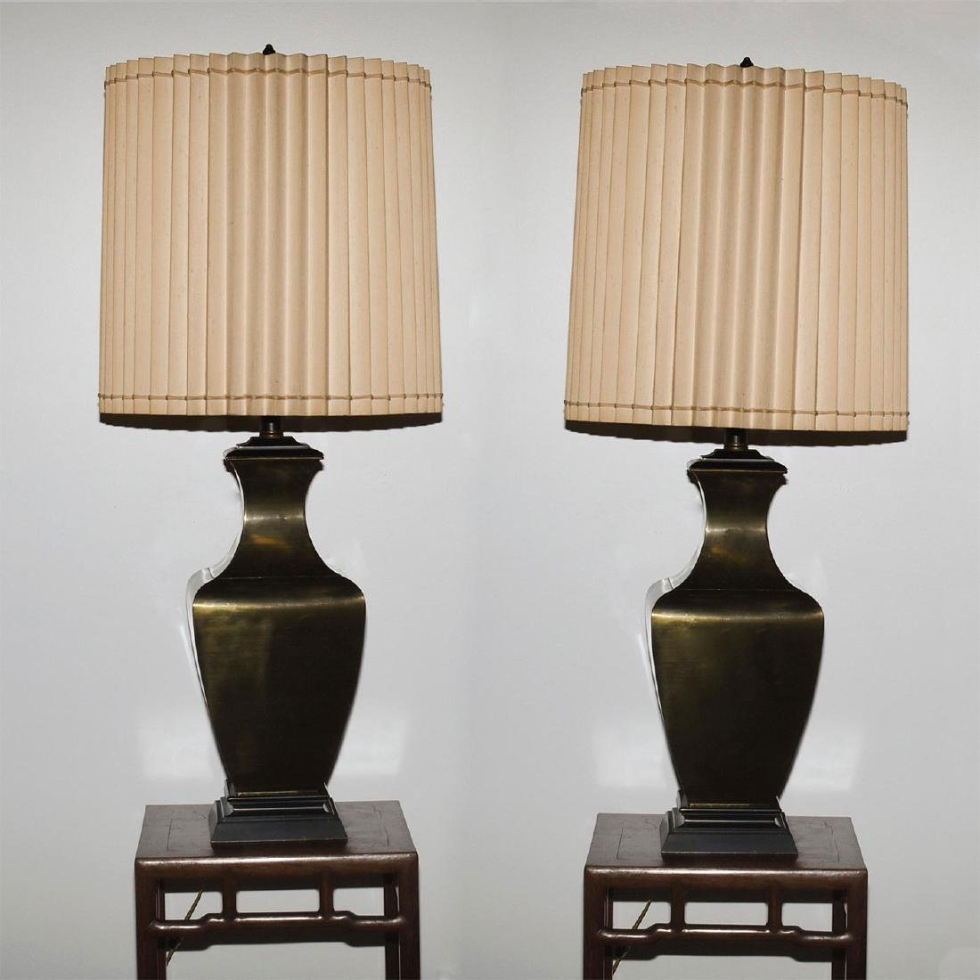 RETRO FAUX BRONZE COLOSSAL LAMPS WITH SHADES