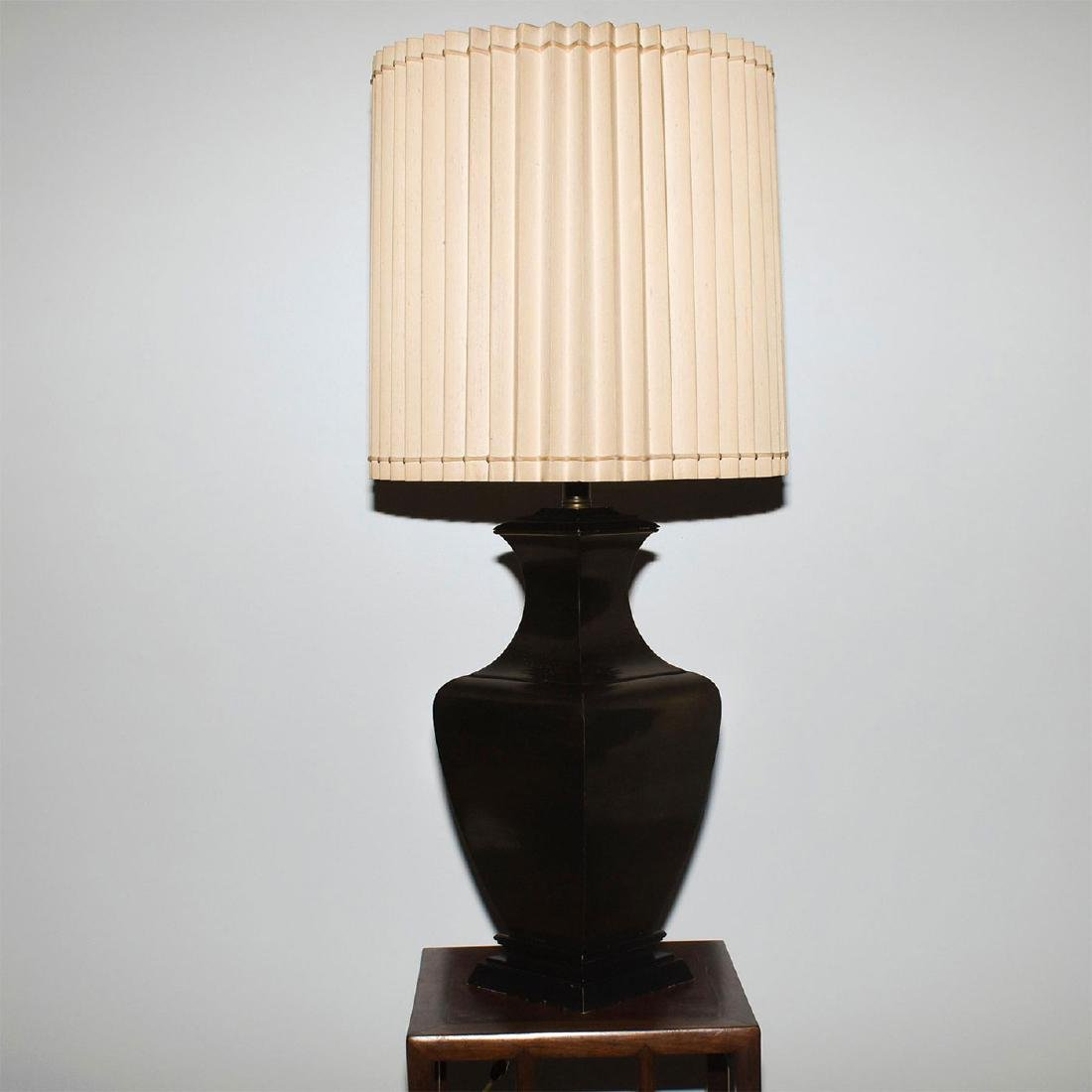 RETRO FAUX BRONZE COLOSSAL LAMPS WITH SHADES - 4