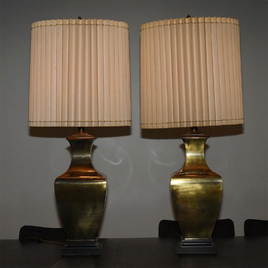 RETRO FAUX BRONZE COLOSSAL LAMPS WITH SHADES - 5