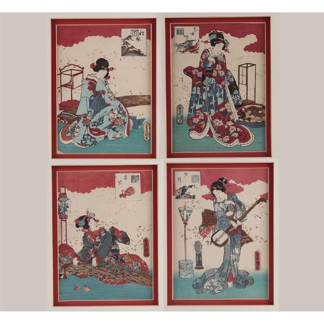 GROUP OF 4 MEIJI RED JAPANESE PRINTS, UTAGAWA KUNISADA