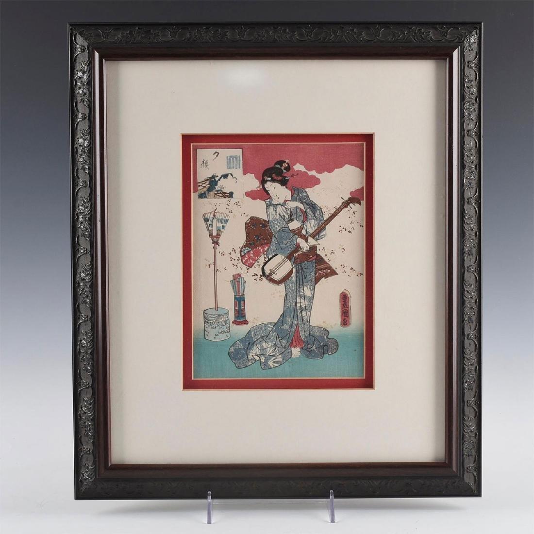 GROUP OF 4 MEIJI RED JAPANESE PRINTS, UTAGAWA KUNISADA - 2
