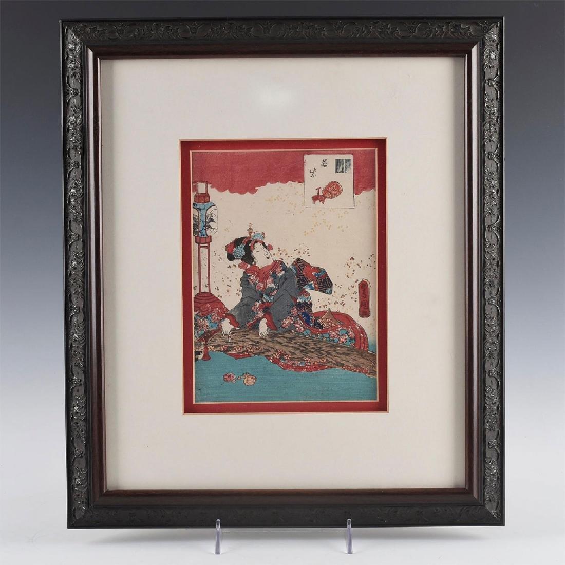 GROUP OF 4 MEIJI RED JAPANESE PRINTS, UTAGAWA KUNISADA - 3