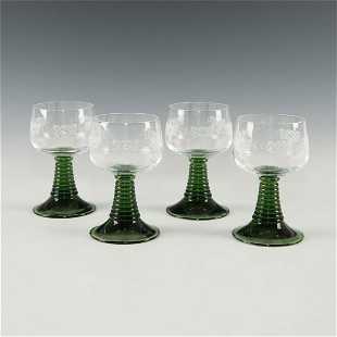 6fc5d4f93ba SET OF 4 GERMAN ART NOUVEAU ETCHED PORT WINE GLASSES