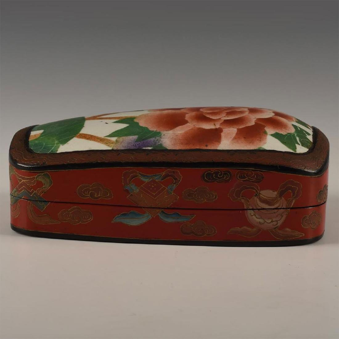 CHINESE RED LACQUERED WITH PORCELAIN SHARD INSET - 2