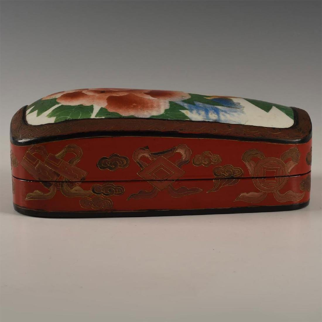 CHINESE RED LACQUERED WITH PORCELAIN SHARD INSET - 4