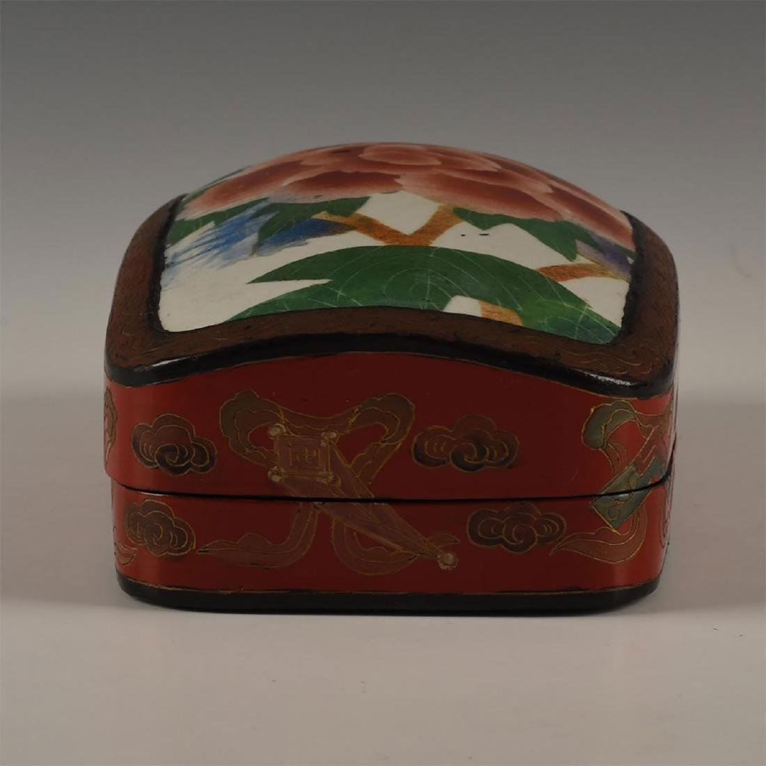 CHINESE RED LACQUERED WITH PORCELAIN SHARD INSET - 5
