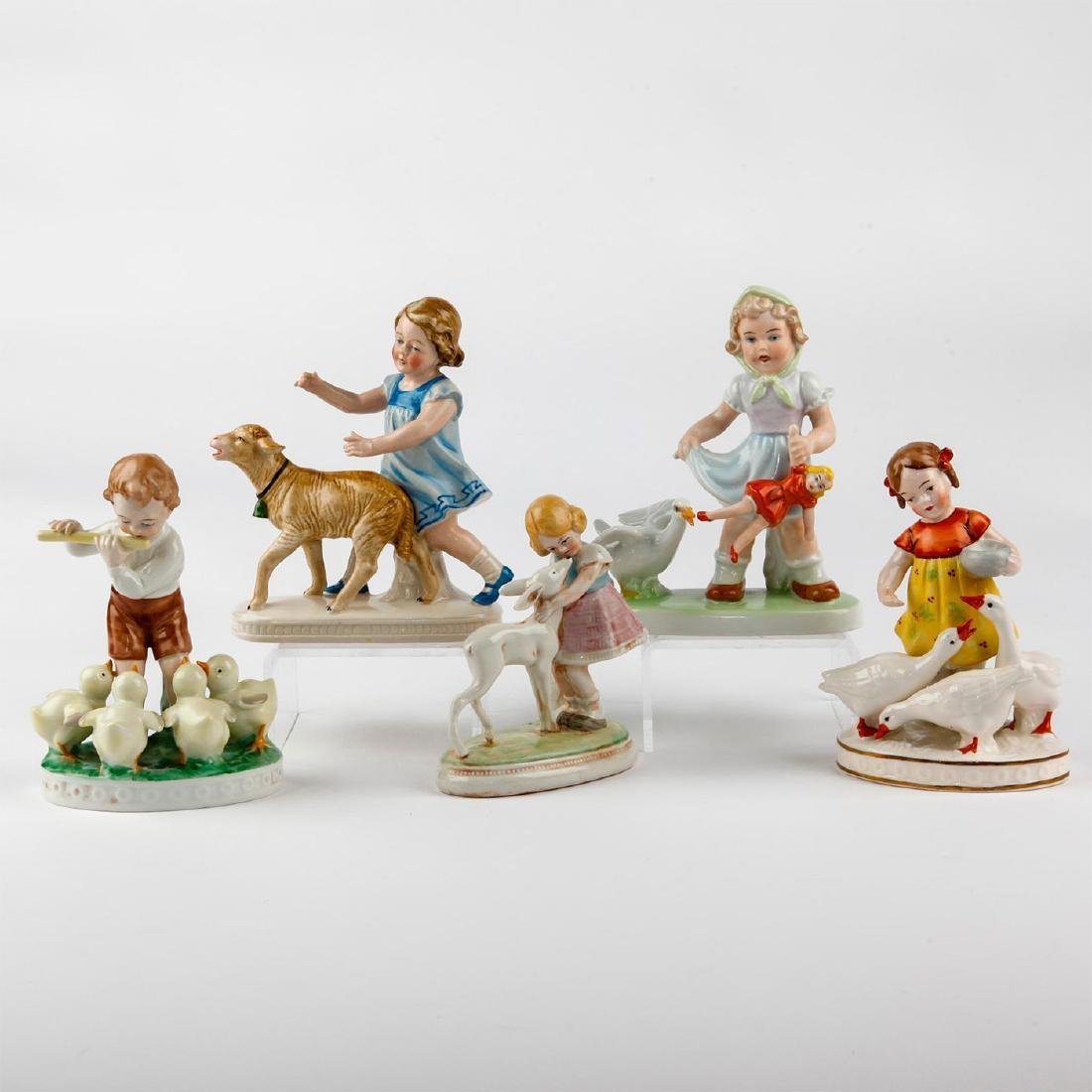 GROUP OF 5 VINTAGE FIGURINES GERMAN CHILDREN