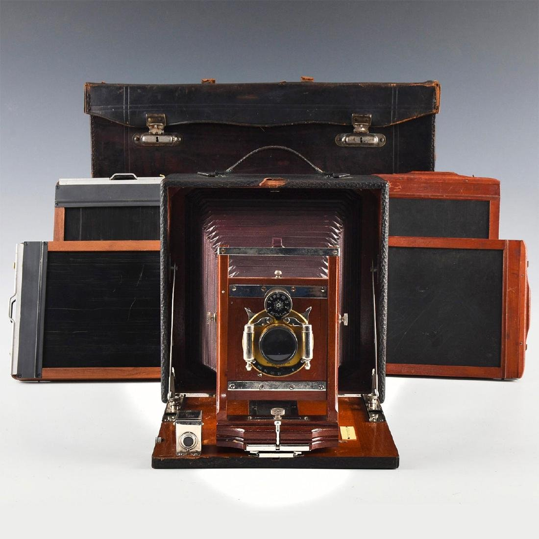 ANTIQUE FOLDING PLATE CAMERA WITH CASE, PLATE HOLDERS