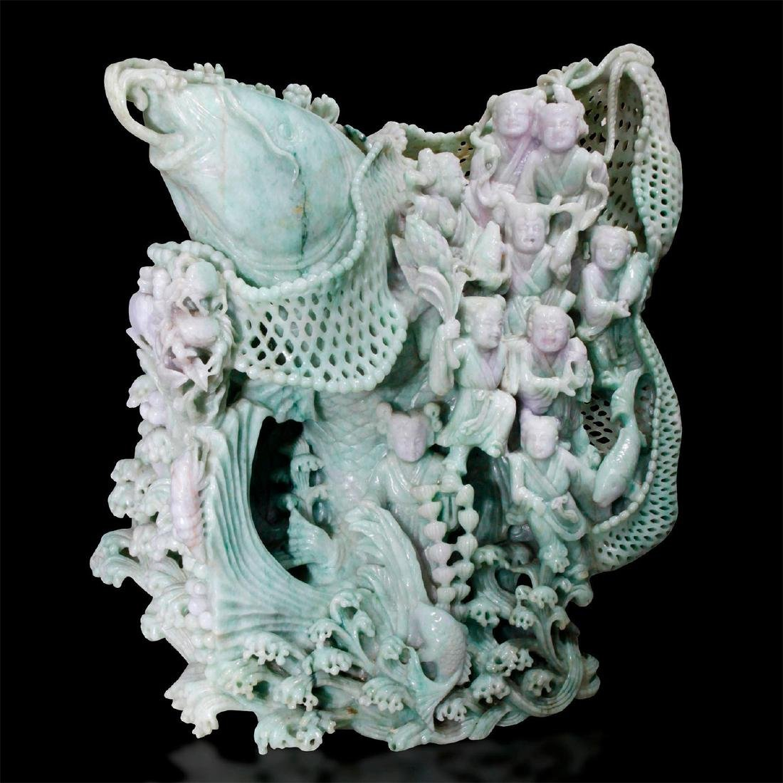 CHINESE CARVED JADE MONUMENTAL FIGURAL GROUP, CARP FISH