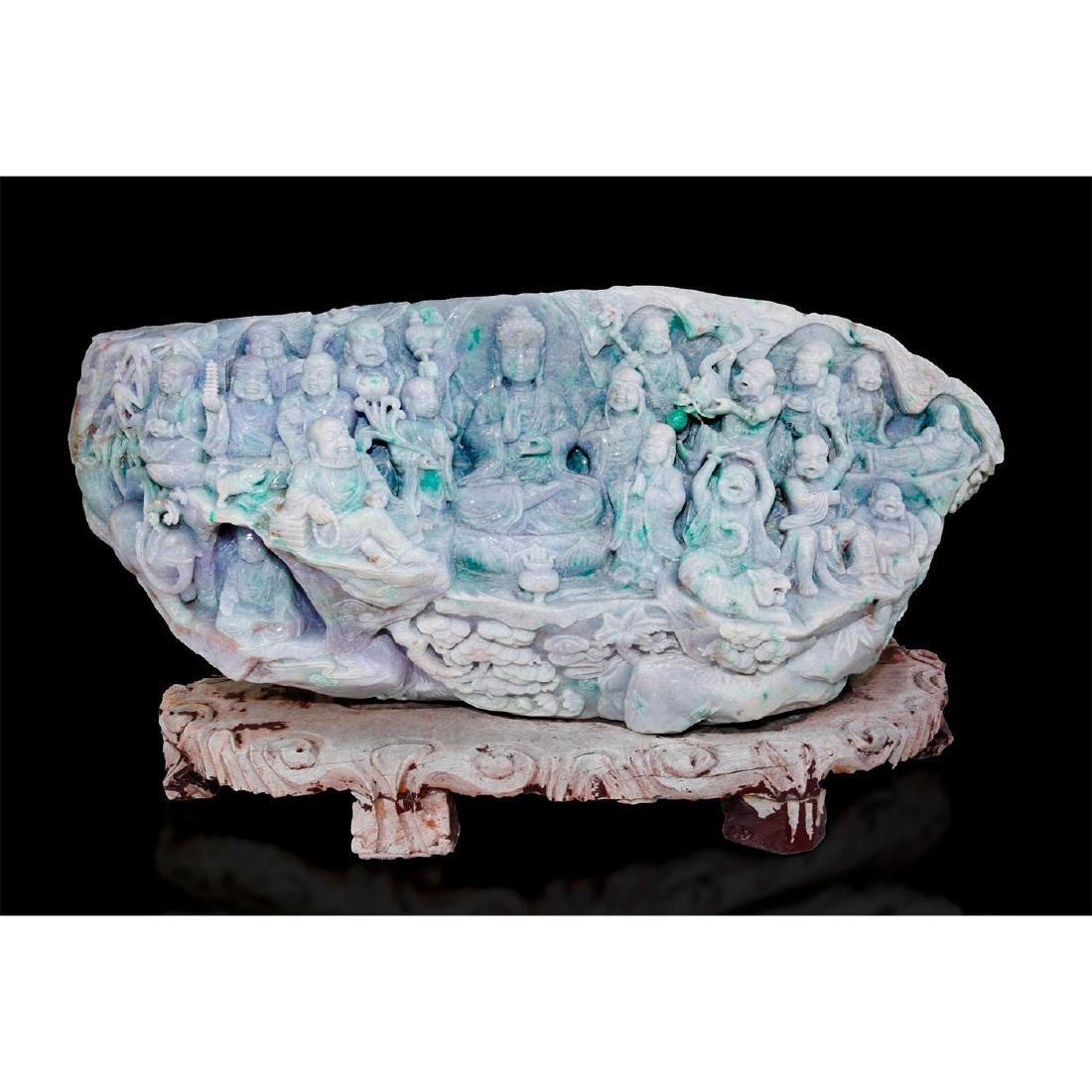 CHINESE CARVED JADE MONUMENTAL FIGURAL GROUP, 18