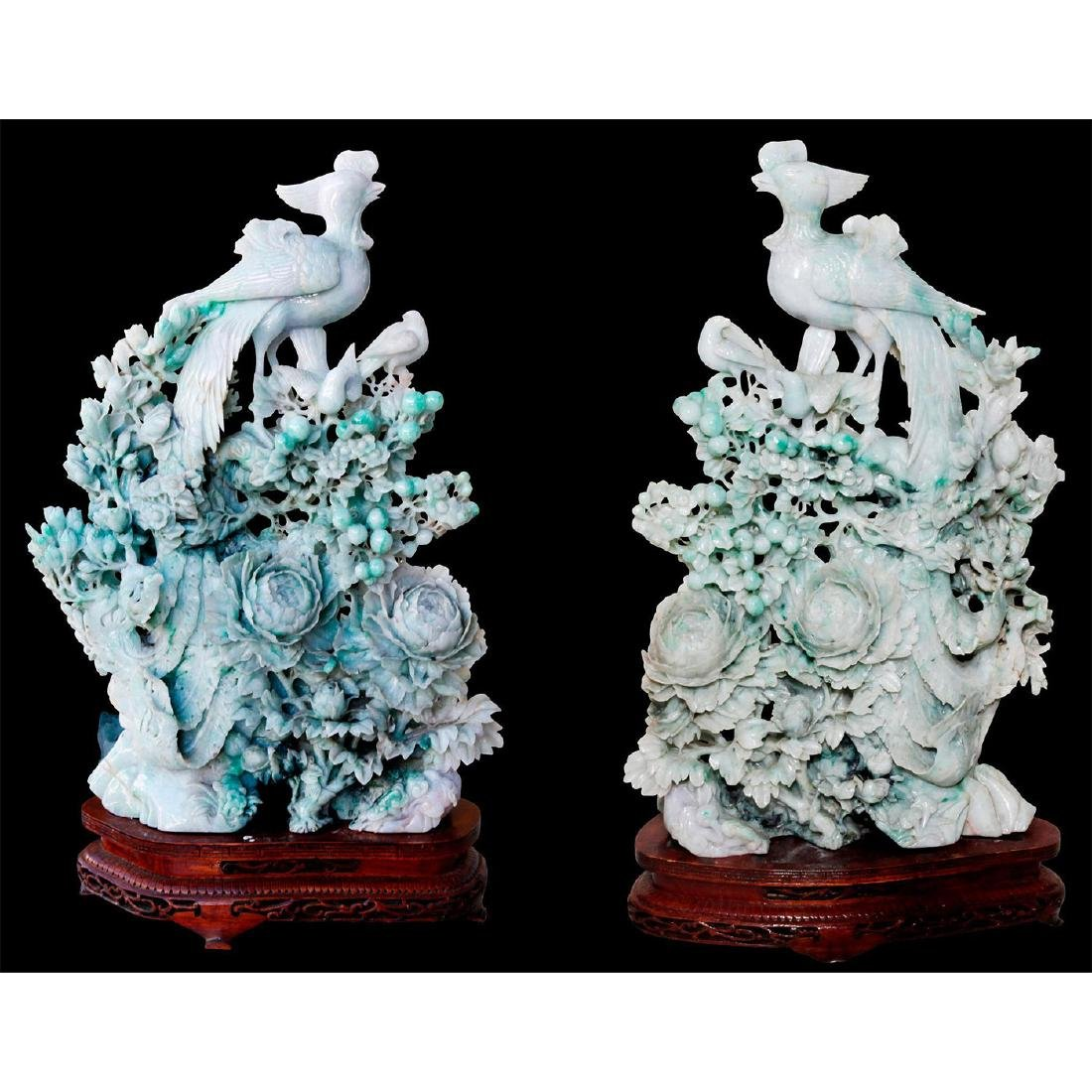 PAIR OF CHINESE CARVED JADE PHEASANT BIRDS, WOODEN