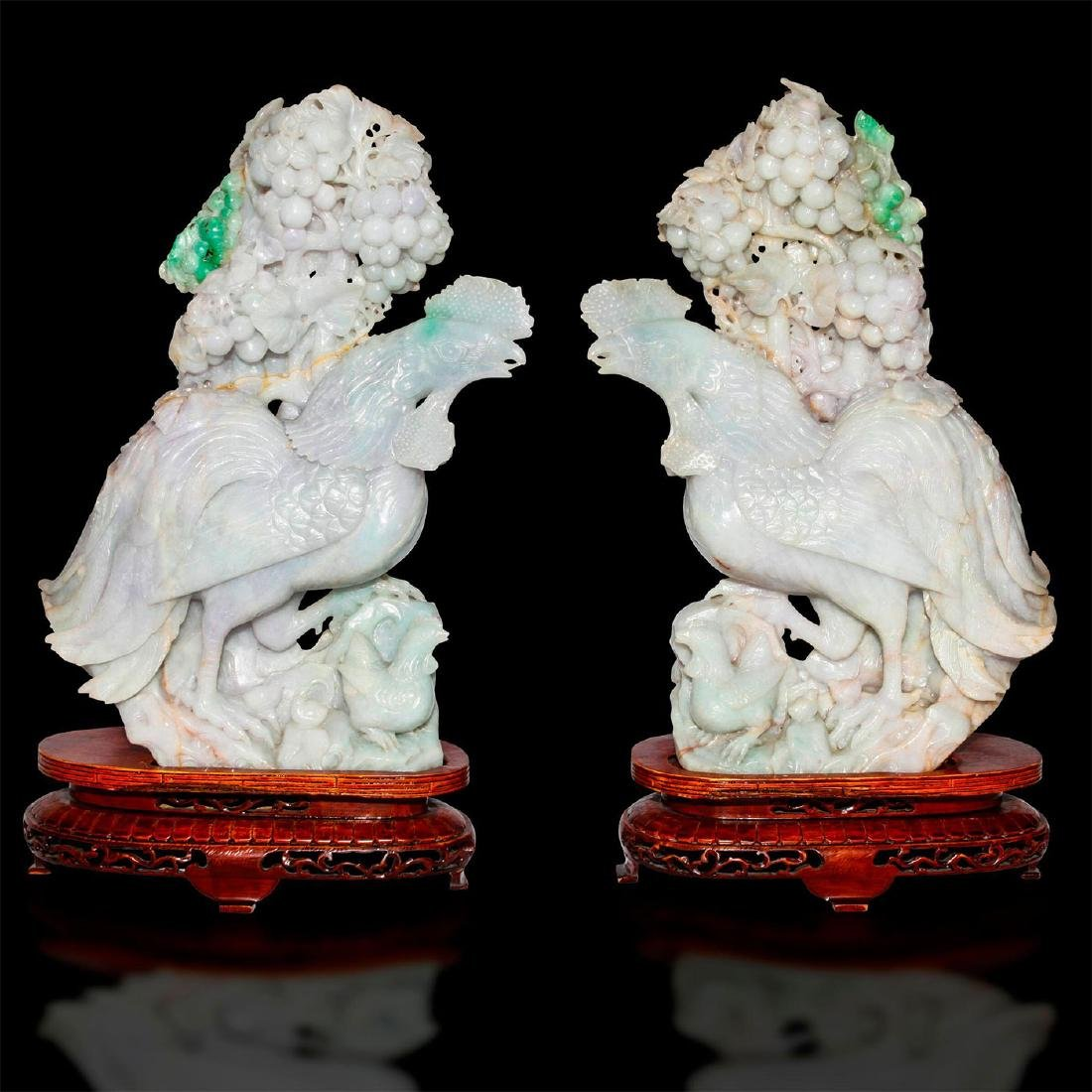 PAIR OF CHINESE CARVED JADE CROWING ROOSTERS, WOODEN