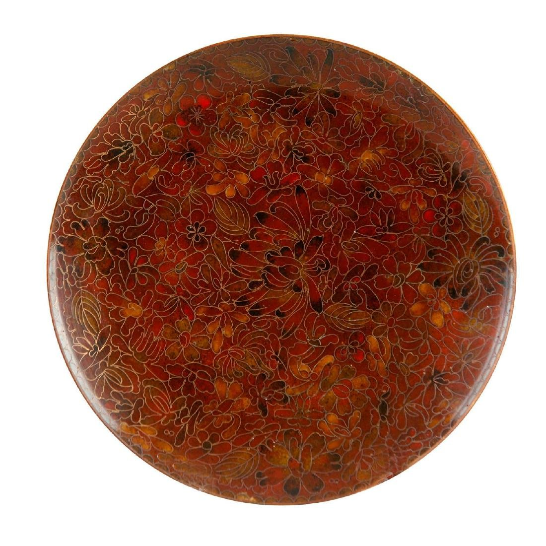 CHINESE CLOISONNE PLATE WITH FLORAL PATTERNS, RUSSET