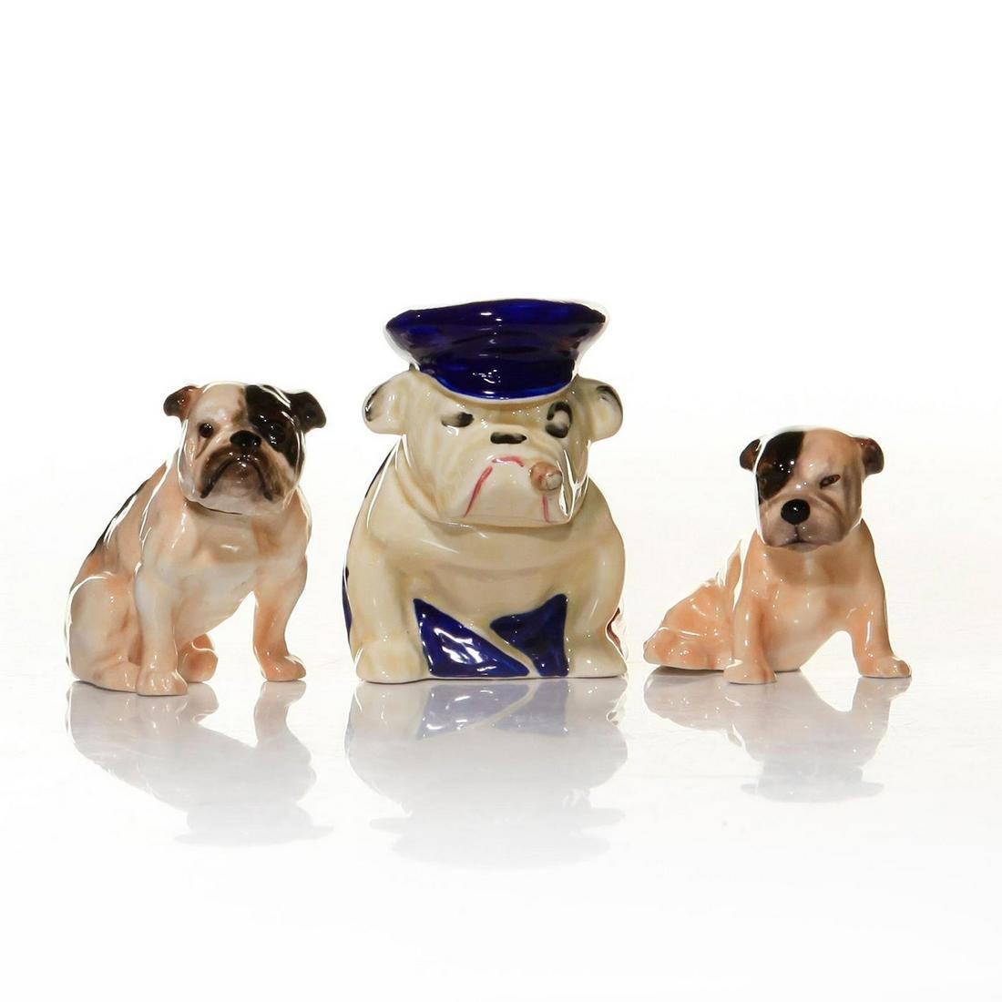 SET OF 3 ROYAL DOULTON DOG FIGURES, SEATED BULLDOGS