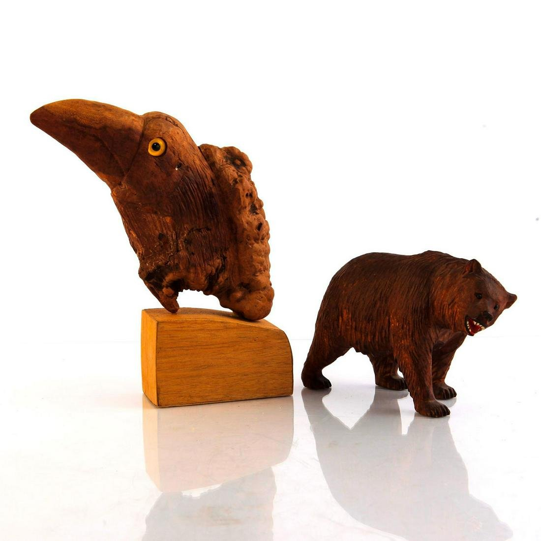 2 CARVED WOODEN ANIMAL FIGURES