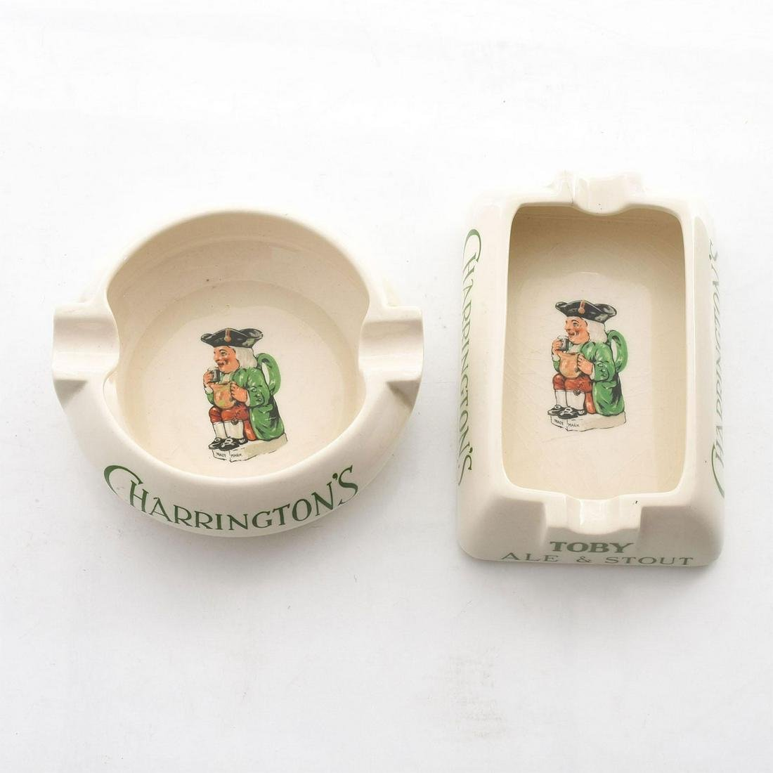 2 ROYAL DOULTON CHARRINGTON'S ADVERTISING ASHTRAYS