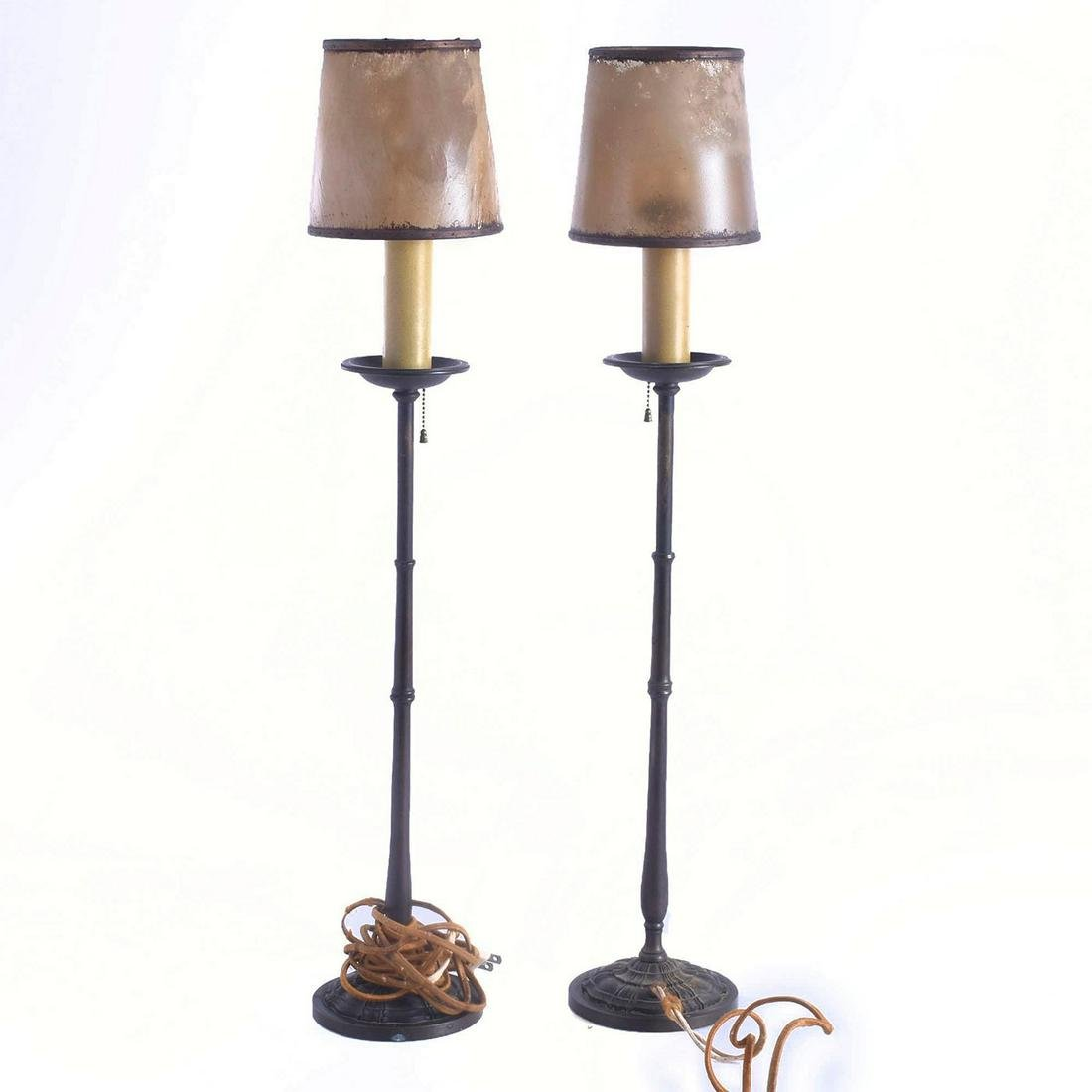 2 SLIM GOTHIC STYLE BRONZE LAMPS WITH RAWHIDE SHADES