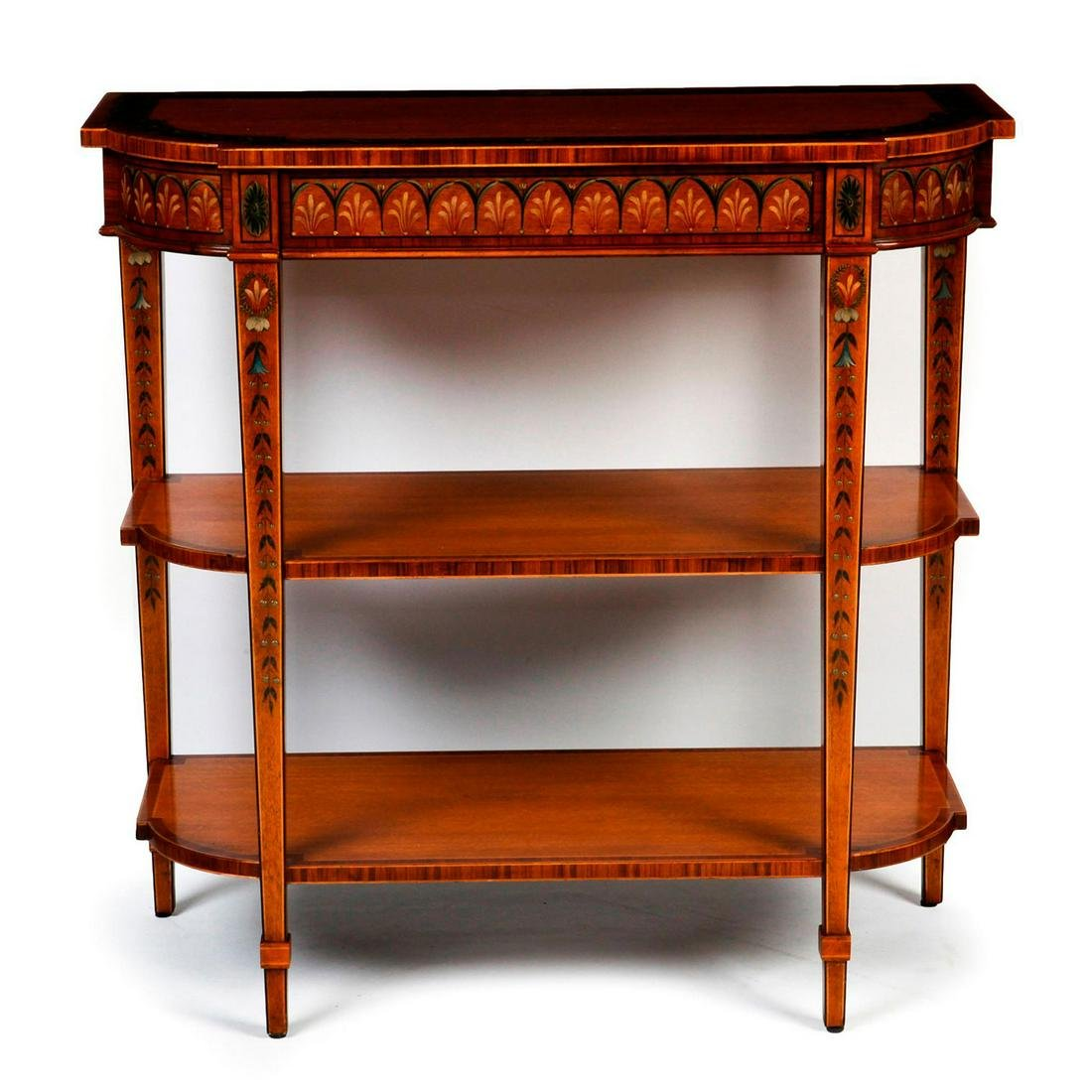 THEODORE ALEXANDER CONSOLE W. DRAWERS, DISPLAY SHELVES